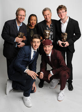 Britain's Got Talent stars Twist & Pulse who presented the Learning - Secondary BAFTA to John White, Derek Brown and David Watson of L8R Youngers 2, plus Josephine Melville.