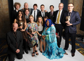 Presenter Sarah Alexander (centre) with the winning team behind Horrible Histories, including Imogen Cooper, Mike Holliday and Mel Proud.
