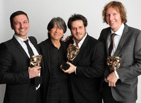Presenter Anthony Browne with the winning Gumball writers: Ben Bocquelet, James Lamont and Jon Foster.