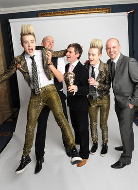 Presenters Jedward with the winning team from Blue Zoo, Oli Hyatt, Adam Shaw and Tom Box.
