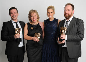 Presenter Stacey Solomon with the winning Gumball team Ben Bocquelet, Joanna Beresford and Mic Graves. This is Gumball's second BAFTA win of the night.