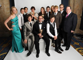 Presenters Dougie Poynter and Tom Fletcher (McFly) with the winning Friday Download team, including Jeremy Salsby, Melony Smith and Fiona Walmsley.