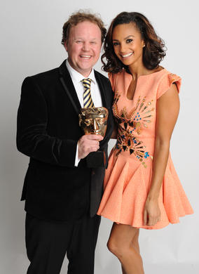 Presenter Alesha Dixon with Something Special Presenter winner Justin Fletcher.