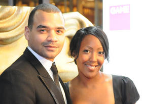 Michael Underwood arrives with Angellica Bell at the GAME Video Games Awards (BAFTA / James Kennedy).