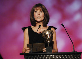 Elisabeth Sladen, aka Sarah Jane of Doctor Who fame, presents the award for Independent Production Company of the Year to Aardman