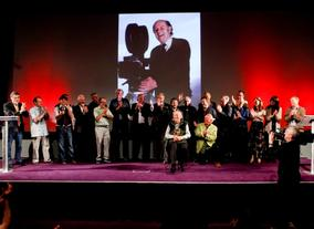 Everyone involved in the event with the man of the moment at the front  (BAFTA/Brian J Ritchie).