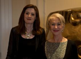 Helen Mirren poses with BAFTA's CEO Amanda Berry at the Fellowship celebratory lunch hosted by Hackett.