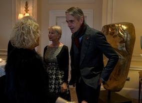 Helen Mirren and Jeremy Irons talks with guests at the BAFTA Fellowship lunch hosted by Hackett.