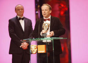 Nick Park picks up his fifth Film BAFTA for his latest Wallace and Gromit adventure in the Short Animation category (BAFTA / Marc Hoberman).