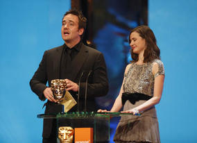 Frost/Nixon star Matthew Macfadyen teamed up with actress Emily Mortimer to present the BAFTAs for Production Design and Make Up &amp; Hair (BAFTA / Marc Hoberman).