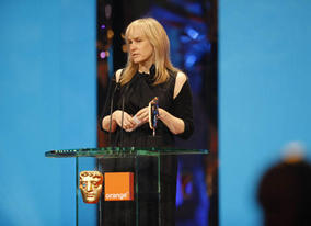 A second BAFTA for The Curious Case of Benjamin Button - this time for Make Up &amp; Hair - is collected by Jean Black and Colleen Callaghan (BAFTA / Marc Hoberman).