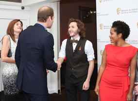 HRH The Duke of Cambridge with Scholarship recipients Sam Coleman and Rienkje Attoh.