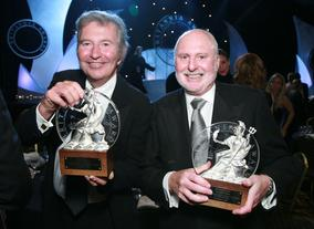New Line Cinema's Bob Shaye & Michael Lynne, recipients of the Cunard Britannia Award for Lifetime Contributions to International Film.