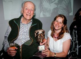 Ray Harryhausen with his daughter Vanessa after the event (BAFTA/Brian J Ritchie).