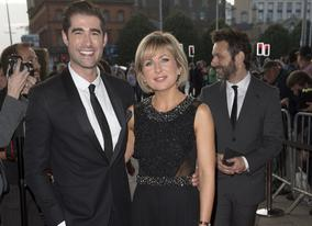 Matt Johnson & Sian Lloyd on the red carpet with Michael Sheen close behind