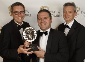 The ITV Wales Team proudly holding their BAFTA Cymru Award