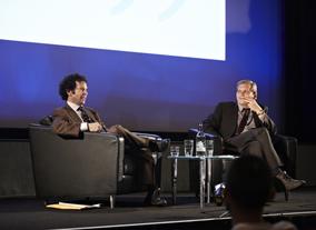 Kaufman was interviewed by journalist David Cox (Picture: BAFTA / J. Birch)