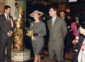Sarah, Duchess of York with Prince Andrew, Duke of York at BAFTA Los Angeles' Royal Gala in 1988.