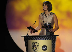 The One Show co-host Alex Jones gets ready to announce the Interactive winner. (Pic: BAFTA/Steve Finn)