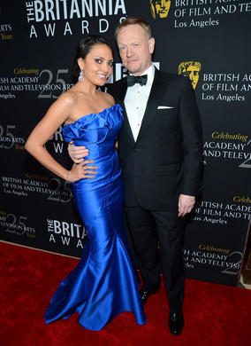Mad Men's Jared Harris and actress Allegra Riggio strike a pose.