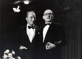 Actor Ian Richardson presents Ben Kingsley with his BAFTA for Best Actor for Gandhi in 1983.