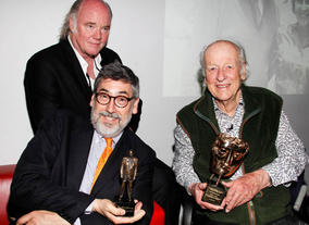 Phil Tippett,  Ray Harryhausen and host for the evening John Landis.