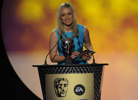 Norris, who became the youngest British woman to climb Mount Everest in May 2010, presents the BAFTA for Learning Primary. Pic: BAFTA/Steve Finn