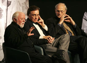 Director/Producer Richard Attenborough on stage at Reunions: Gandhi, 25 years on, with the film's writer John Briley and editor John Bloom.