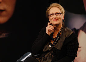 Meryl and the audience watch clips of her iconic film performances (BAFTA / Marc Hoberman).