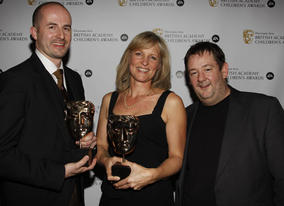 Winners of the Animation award for 'Lost and Found' with citation reader, Johnny Vegas.