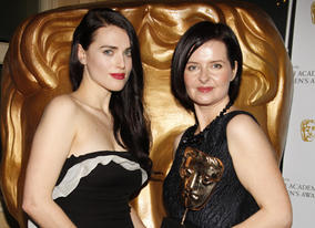 Helen Blakeman, winner of the Writer award for 'Dustbin Baby', with citation reader Katie McGrath.