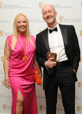 Pamela Stephenson with the BAFTA-winning composer of Any Human Heart, Dan Jones. (Pic: BAFTA/Chris Sharp)