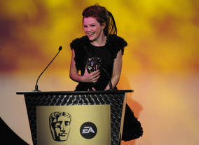 The star of The Chronicles Of Narnia films presents the BAFTA for Performer. (Pic: BAFTA/Steve Finn)