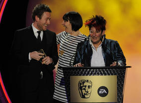 David Scanlon, Sarah Fell and Jackie Cockle accept the BAFTA for their heartwarming and characterful comedy Timmy Time. Pic: BAFTA/Steve Finn
