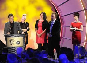 Allan Johnston, Helen O'Connell, Anna Perowne and Something Special presenter Justin Fletcher, the team behind the informative and engaging Something Special. Pic: BAFTA/Steve Finn