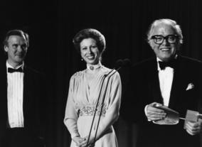Richard Attenborough and Timothy Burrill, Academy Chair with HRH The Princess Royal, Academy President having received the fellowshiop at the Film and Television Awards in 1983.