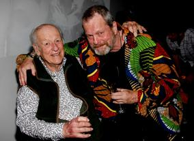 Ray Harryhausen and Terry Gilliam after the event (BAFTA/Brian J Ritchie).