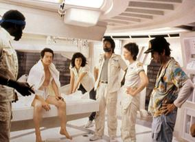 Yaphet Kotto, John Hurt, Sigourney Weaver, Tom Skerritt, Veronica Cartwright, Harry Dean Stanton and Ian Holm on the set of Alien in 1979. Photo: c.20thC.Fox/Everett / Rex Features