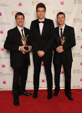 Radio 1 DJ Greg James with LA Noire composers Andrew Hale and Simon Hale. The jury praised the games refreshing choice of freeform jazz that captures the era perfectly.