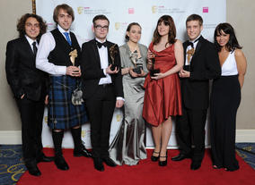 Hollyoaks stars Ashley Margolis and Jess Fox with the Swallowtail team behind the 3D puzzle/maze game for the iPad.
