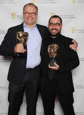 Chris Wood and Steve Roberts with their BAFTAs for the series in which a drawn line creates endless challenges and surprises for the unsuspecting little character, Dipdap.