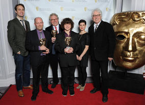 Presenters Oliver Chris (l) and Jemima Rooper with Paul Seed, John Chapman, Simon Nye and Just William's leading man, Daniel Roche.