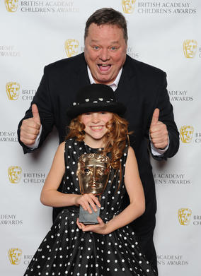 The voice of Peppa Pig, Harley Bird, with presenter Ted Robbins.
