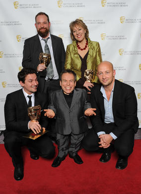 Presenter Warwick Davis (centre front) with the winning team, including Ben Bocquelet, Mic Graves and Joanna Beresford.