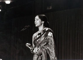 Rohini Hattangadi receives her BAFTA for Best Supporting Actress in 1983.