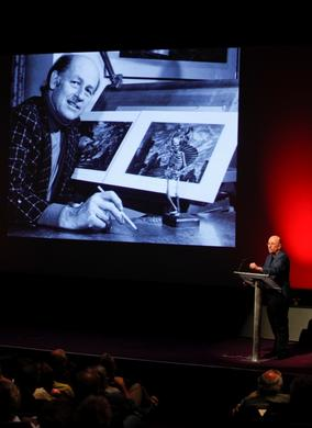 Rolf Gieson on stage (BAFTA/Brian J Ritchie).