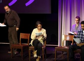 Actors read a monologue as apart of the screenwriters' lecture with Peter Morgan. (Photography: Jay Brooks)