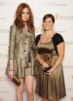 Jesse Versluys the director of Katie: My Beautiful Face, winner of the Break-throught Talent BAFTA with citation reader Karen Gillan (BAFTA/Steve Finn).