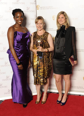 Natalie Ward, winner of Costume Design Award for Red Riding 1974 with award presenter Wunmi Mosaku
