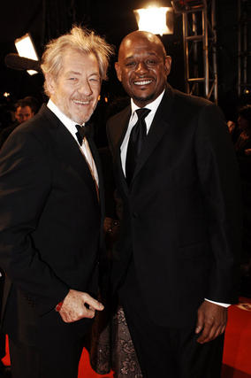 Sir Ian McKellan and Forest Whitaker on the red carpet. Whitaker went on to win the Actor award for his role in The Last King Of Scotland (BAFTA/Richard Kendal).